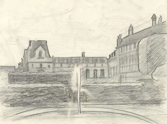 Louvre Drawing from the Tuileries