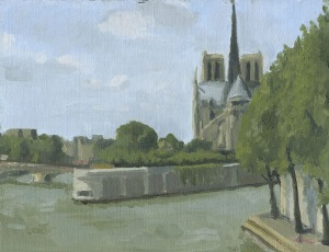 Notre Dame, oil painting by Sarah F Burns