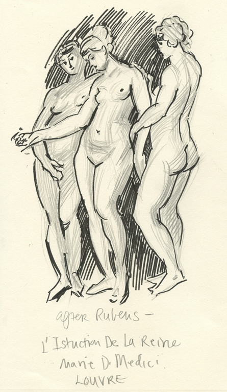 Sketch after Rubens - Education of Marie Di Medici