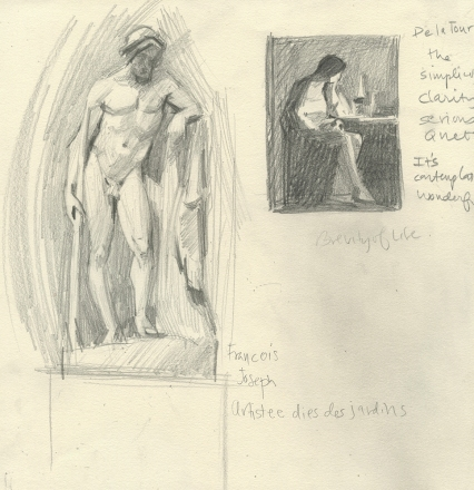 Sculpture - - Louvre and Drawing after Georges LaTour