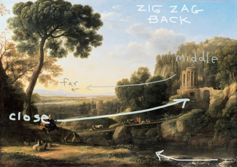claude lorrain pastoral landscape zig zag