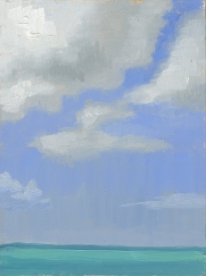 Cumulus Clouds over Tourquoise Waters Plein air painting