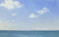 Evening Sky and Sea in the Caribbean Plein Air Oil Painting
