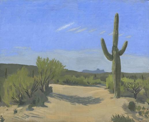 Oil Painting of Saguaro Cactus in the Arizona Desert