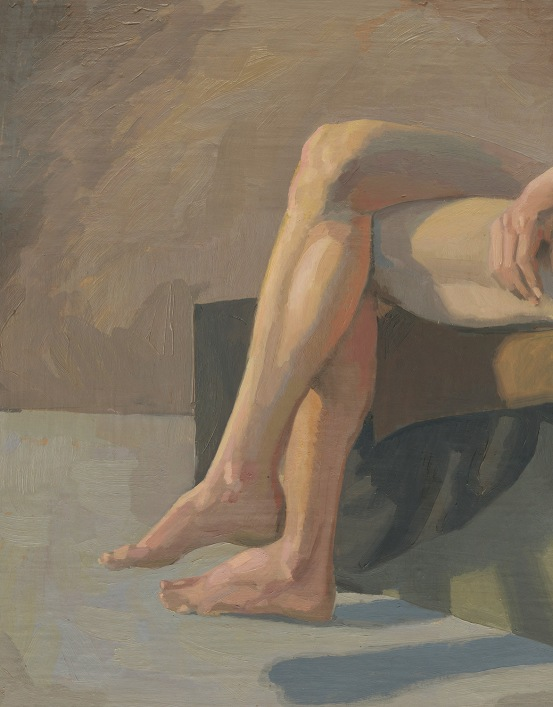 Oil Painting of Man's Legs by Sarah F . Burns