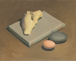 Oil Painting of shell, book and egg by Sarah F Burns
