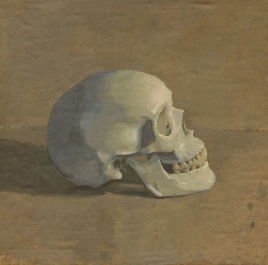 Oil Painting of a Skull with Light on its Face by Sarah