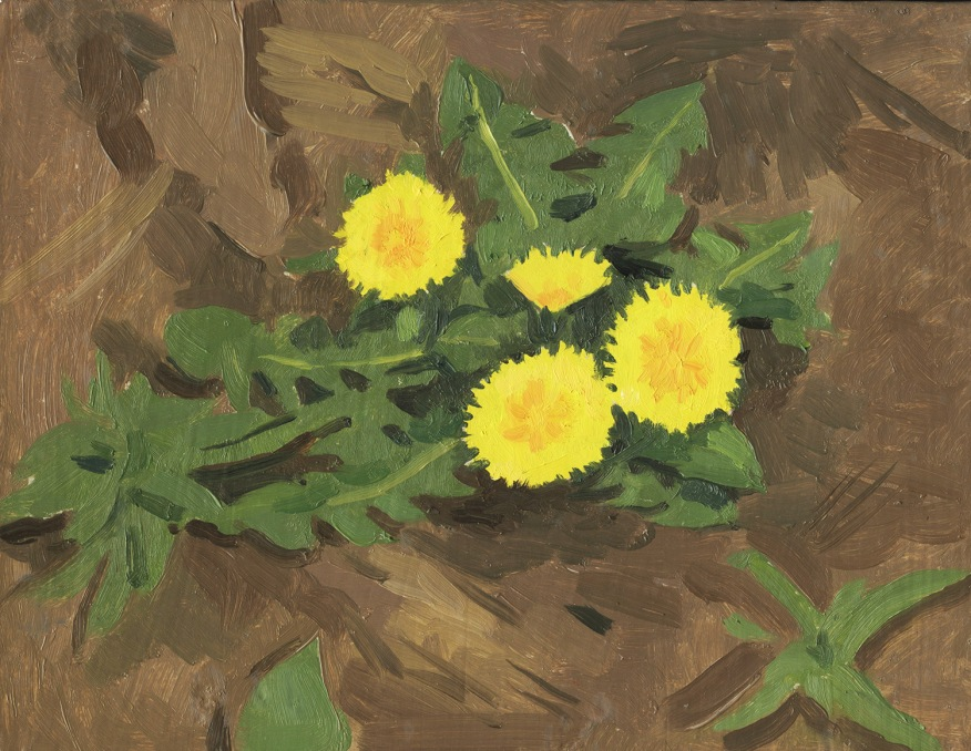oil painting of dandelion flower and plant