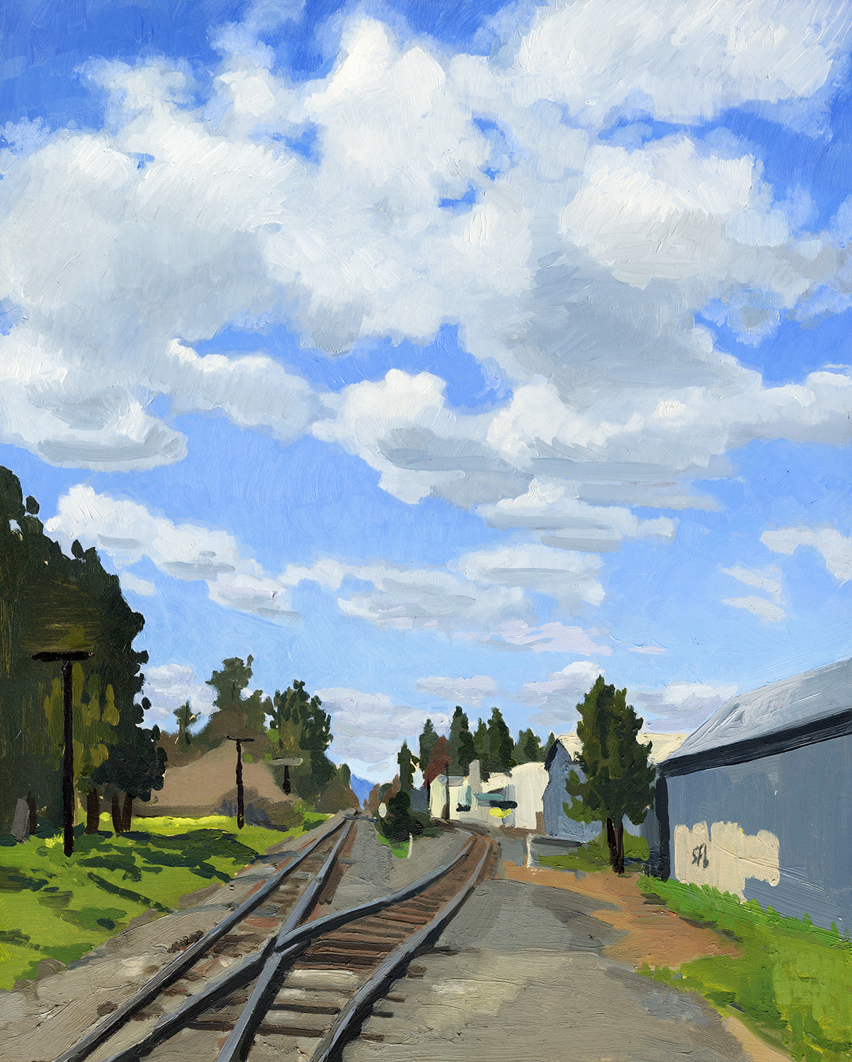 Railroad Tracks with Clouds