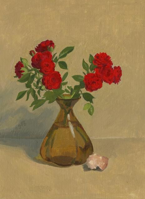 Oil Painting of red roses in vase with shell